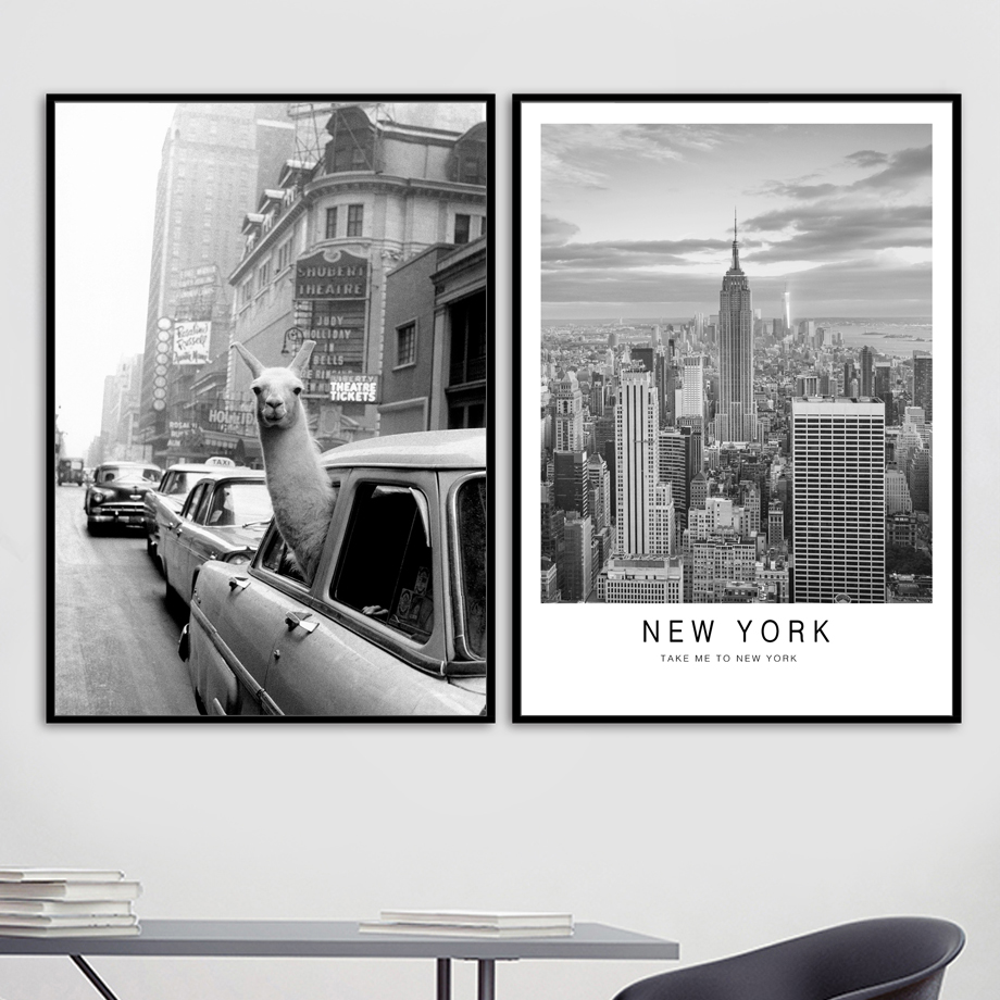 Car Alpaca New York Vintage City Nordic Posters And Prints Wall Art Canvas Painting Wall Pictures For Living Room Pop Art Decor