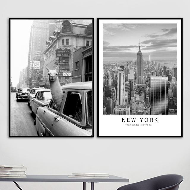 "Car Alpaca New York Vintage City Nordic Posters And Prints Wall Art Canvas Painting Wall Pictures.jpg 640x640 - wall-decor, decor - ""Lama in New York City"" Canvas"