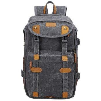 Batik Canvas + Leather Waterproof Retro Casual Camera Photo Backpack Video Shoulders Bag for Canon Nikon Sony DSLR Tripod Lens