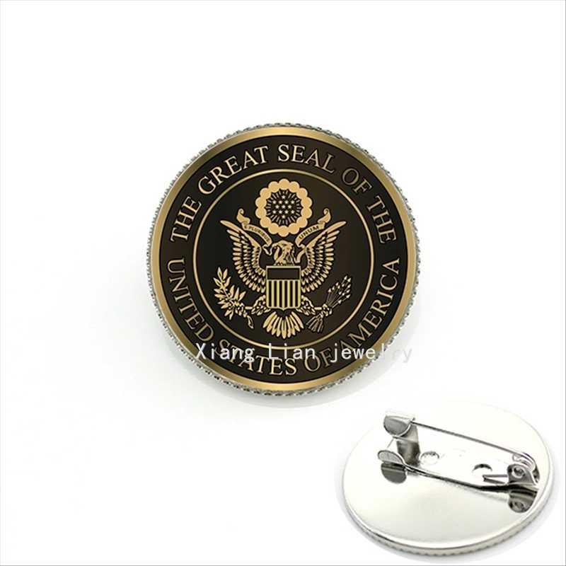 Hot Sale Kaca Cabochon Militer Bros Segel Besar dari Amerika Serikat Coklat Trendi Pria Perhiasan MI015