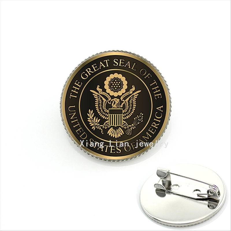 JWEIJIAO Hot sale glass cabochon military brooch The great seal of the United states of America brown trendy men jewelry MI015(China)