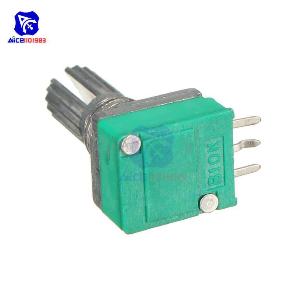 5 ชิ้น/ล็อต 6 มม. B10K 10 K Ohm 3 Pin Single Linear Potentiometer โรตารี่ 15 มม. Knurled Shaft Potentiometer พร้อมถั่วและเครื่องซักผ้า