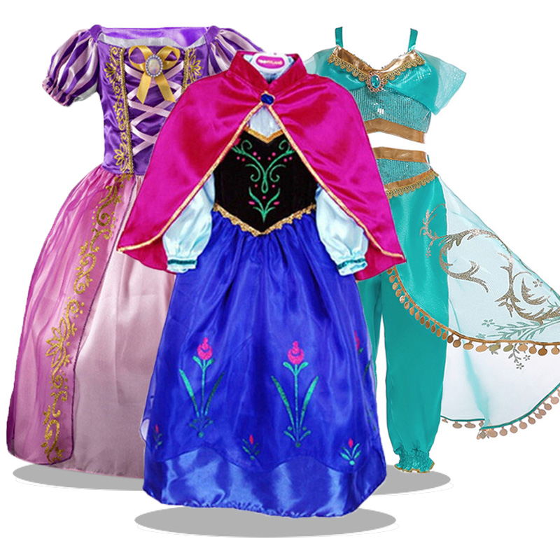 Summer 2019 Aladdin's Goddess Jasmine Cosplay Costume Kids Dresses For Girls Party Princess Dress For Kids Toddler Girls Clothes
