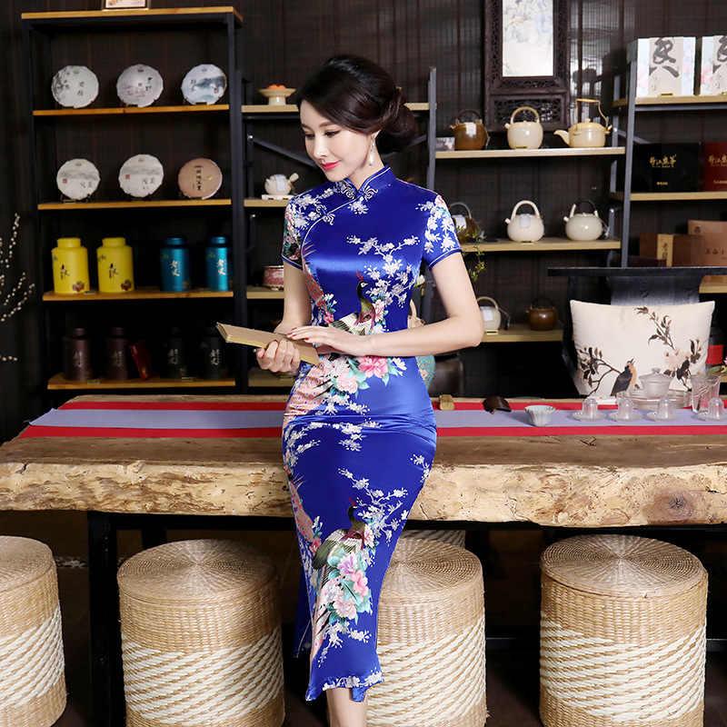 Плюс размер 4XL 5XL 6XL летнее новое платье женский китайский сатиновый Ципао сексуальный длинный тонкий Чонсам с цветочным принтом в винтажном стиле Королевский синий 0181