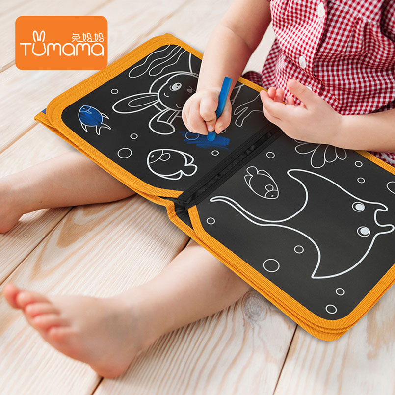 Image 5 - Tumama Cloth Books Portable Blackboard Book Can Repeatable Painting Educational Toys For Children Multifunction Montessori Toys