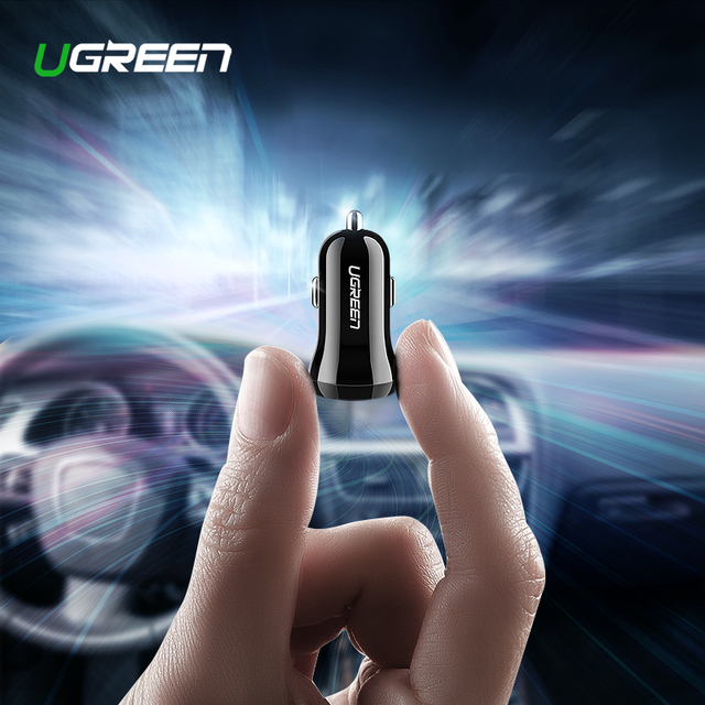 Ugreen מיני USB מטען לרכב עבור טלפון נייד Tablet GPS 4.8A מהיר מטען לרכב-מטען USB הכפול לרכב טלפון מטען מתאם במכונית