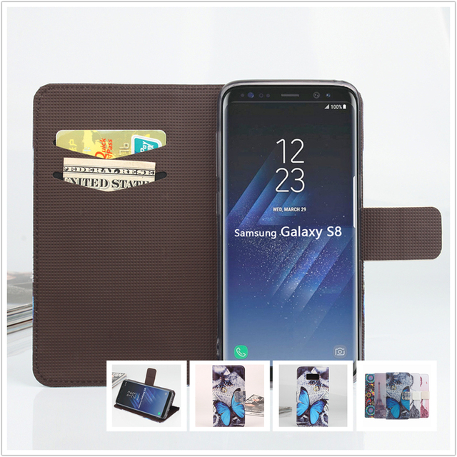 """Colored Luxury leather Case For Samsung Galaxy S8 / S 8 SM-G950F 5.8"""" Cellphone Flip Cover Case housing Mobile Phone shell"""