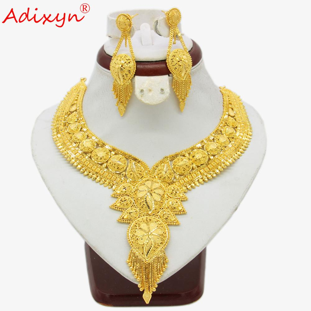 Adixyn India Necklace&Earrings Jewelry Set for Women Gold Color Bling Hanging Jewelry Ethiopian/Arab Wedding/Party Gifts N04196Adixyn India Necklace&Earrings Jewelry Set for Women Gold Color Bling Hanging Jewelry Ethiopian/Arab Wedding/Party Gifts N04196