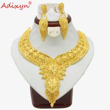 Adixyn India Necklace&Earrings Jewelry Set for Women Gold Color Bling Hanging Jewelry Ethiopian/Arab Wedding/Party Gifts N04196 цены онлайн
