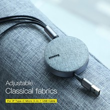 Baseus 3 in 1 3.5A Fast USB Charging Cable Retractable 1.2m  Quick Cord with Type C Micro and for iPhone X