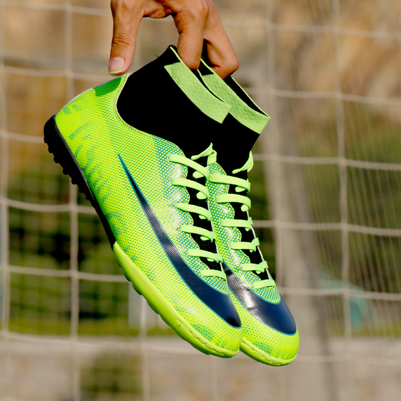 030f9c9ed Turf Indoor High Top Adult Rubber sole Soccer shoes men boy futzalki  centipede children boots for football Shoe size 28 44-in Soccer Shoes from  Sports ...