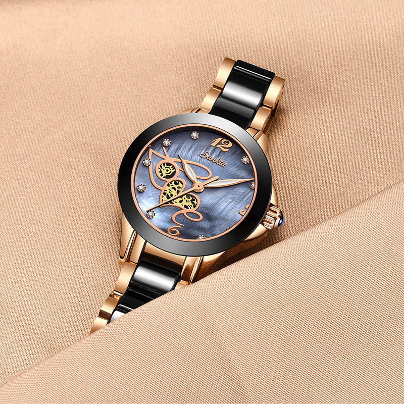 SUNKTA Women Watches Top Quality Ladies Rhinestone Watch Luxury Rose Gold Black Ceramic Waterproof Watches Woman Classic Series in Women 39 s Watches from Watches