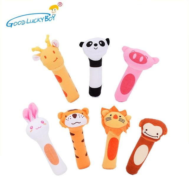 7 estilos Nascido Bonito Sino de Mão Chocalhos Infantil Do Bebê Do Algodão Animais Crianças Brinquedos de Pelúcia Presentes Anéis de Desenvolvimento Brinquedos Da Criança