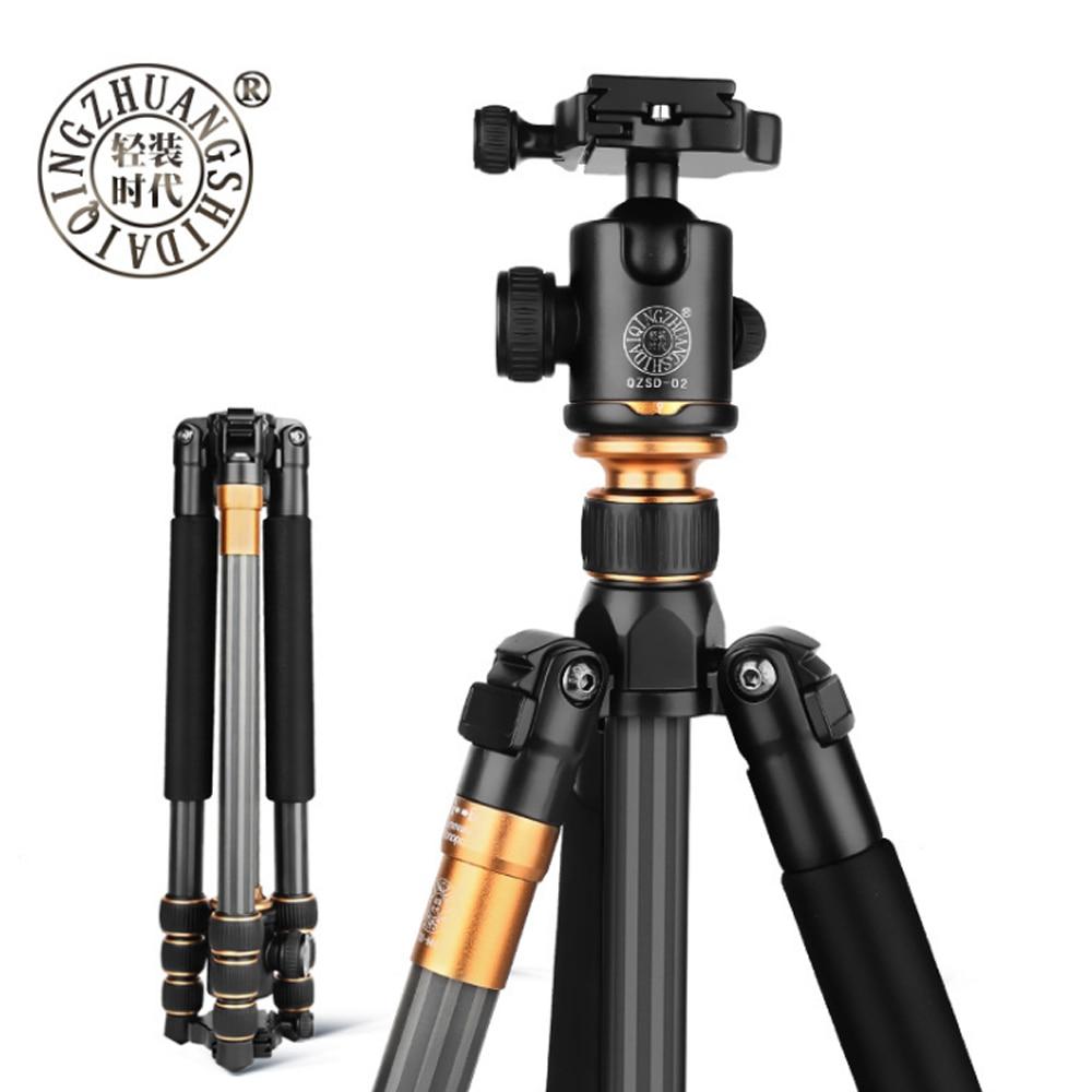 Original Hot Beike QZSD Q999C Professional Photographic Portable Carbon Fiber Tripod Kit Monopod Stand Ball head