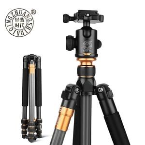 Image 1 - Beike Kit de Trípode De Fibra De Carbono portátil para fotografía profesional QZSD Q999C, soporte de monopié, rótula de bola para cámara DSLR