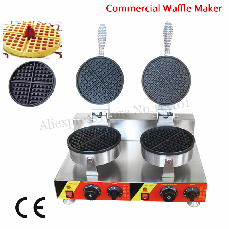 Electric Commercial Waffle Maker Stainless Steel Waffle Machine Double Heads 2000W Nonstick Cooking Surface digital and commercial double head waffle maker rectangle waffle machine