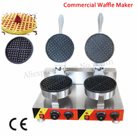 Electric Commercial Waffle Maker Stainless Steel Waffle Machine Double Heads 2000W Nonstick Cooking Surface