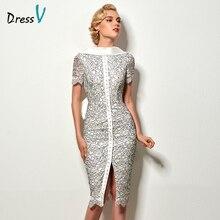 Dressv сексуальное короткое коктейльное платье с открытой спиной, винтажное вечернее кружевное коктейльное платье до колена с бантом