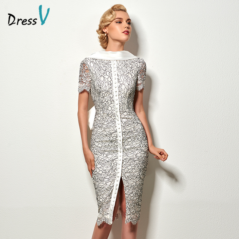 Dressv  backless sheath short cocktail dress vintage high neck knee length evening party lace cocktail dress with bowknot