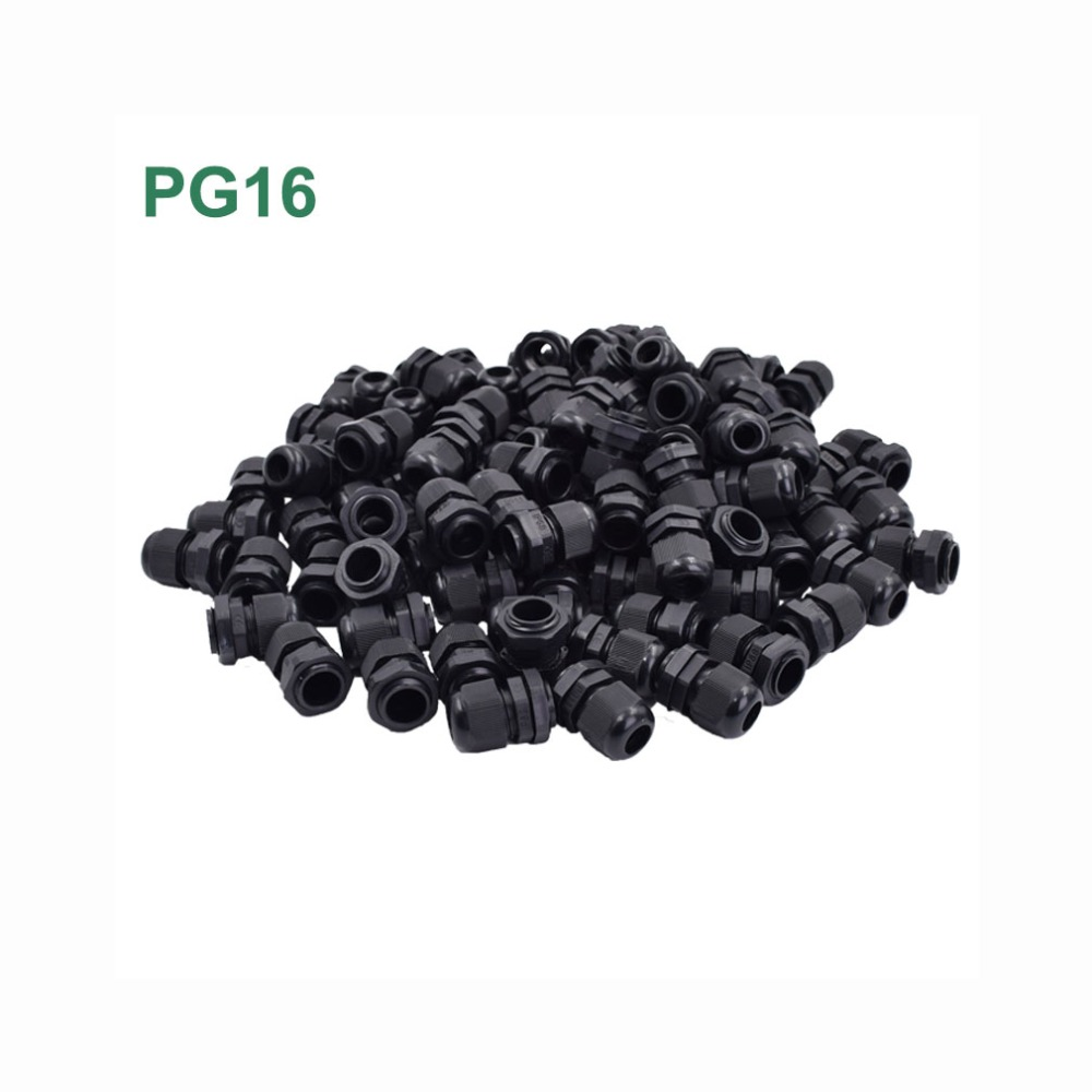 100pcs/lot PG16 Waterproof Cable Gland Connector Adjustable M22 Plastic Cable Gland with Locknut For 10 14mm Wire Black Grey-in Cable Glands from Home Improvement    1