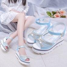 Кристалл открытый носок ремешок на щиколотке Туфли-гладиаторы на платформе сандалии для девочек Высокая спереди и сзади ремень женские босоножки на платформе Пряжка Летняя женская обувь