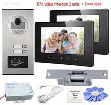 Rfid Cards Unlock Video Door Phone With Electric Lock Doorbell Video 2 Metal 7inch Color Indoor Monitors For 2 Apartments/Family