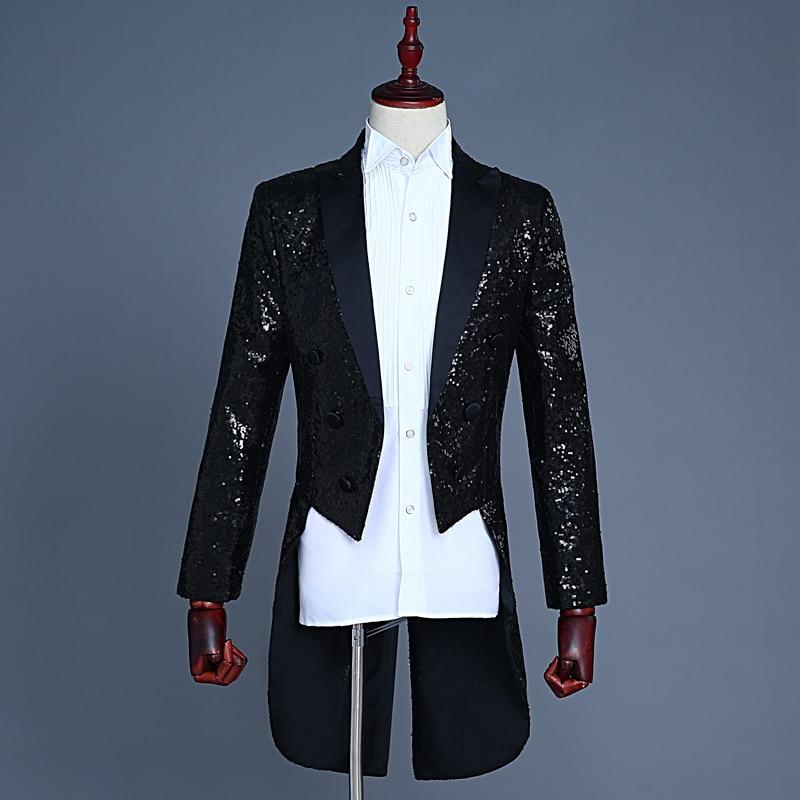 Sequin Black Tailcoat Costume Jackets Men Tailcoat Suit Men Red Tuxedo Tailcoat Suit Winter Jacket Men button up tailcoat