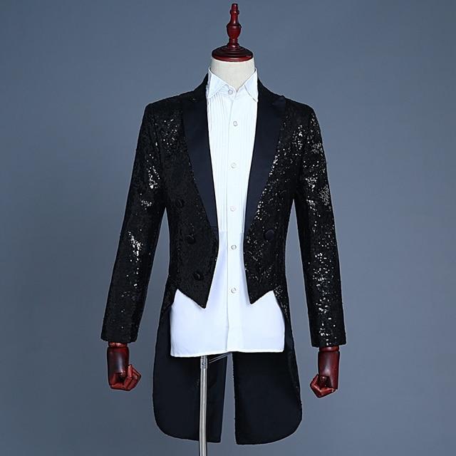 f62d0bc421b8 Sequin Black Tailcoat Costume Jackets Men Tailcoat Suit Men Red Tuxedo  Tailcoat Suit Winter Jacket Men