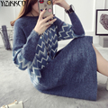 Women Sweater 2016 Winter New Fashion Knitted Pullovers High Quality Striped Sweaters Long Soft Pull Femme Sweter Mujer SZQ062