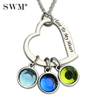 Women Custom Letter Necklace Sterling Silver 925 Heart Necklaces with Kids Birthstone Chain Moms Engraved Pendants for Mother