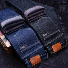 2018 Winter New Men's Warm Black Jeans Elasticity Slim Fit Thicken Denim Pants Brand Trousers Male Bule Big Size 38 40 42 44 46