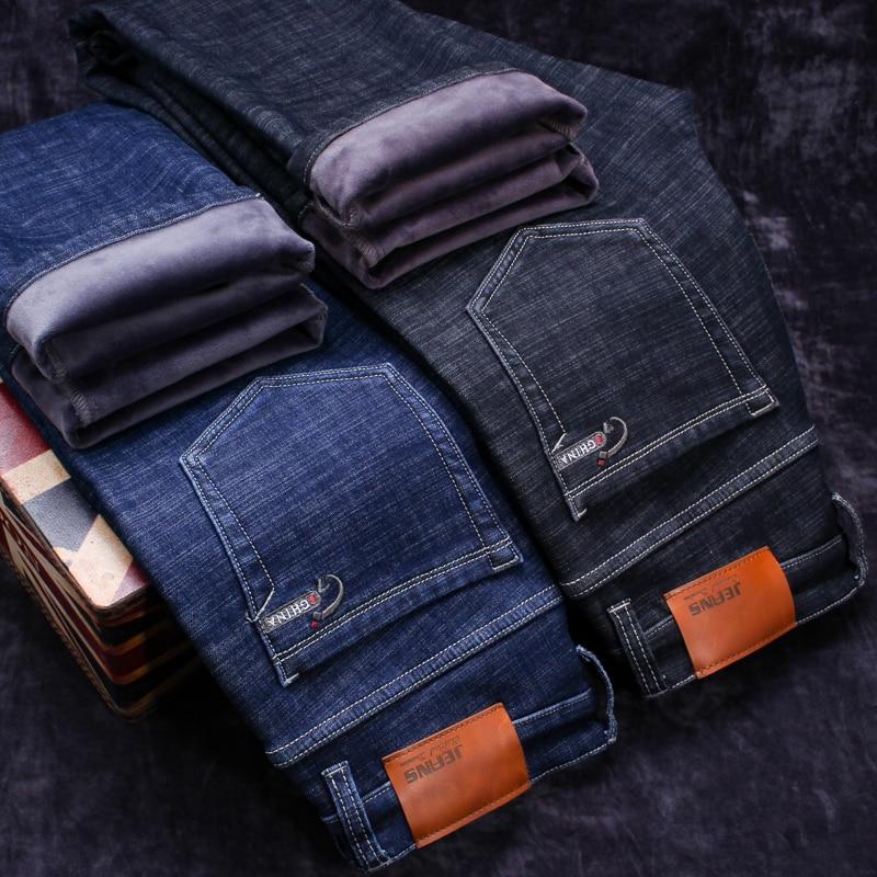 2019 Winter New Men's Warm Black Jeans Elasticity Slim Fit Thicken Denim Pants Brand Trousers Male Bule Big Size 38 40 42