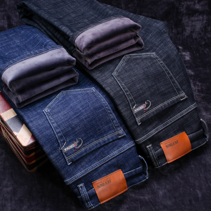 2020 Winter New Men's Warm Black Jeans Elasticity Slim Fit Thicken Denim Pants Brand Trousers Male Bule Big Size 38 40 42