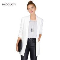 Fashion Office Lady Women Blazers And Jackets Single Button Slim Long Sleeve Black White Ladies Suit