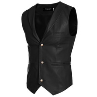 New Fashion Men Suits Vest Simple Wild Men S Slim Solid Color Casual Lapel Leather Vest