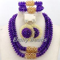 Gorgeous Purple Gold African Wedding Beads Chunky Jewelry Sets Crystal Bridal Dubai Jewelry Necklace Sets Free Shipping AMJ172