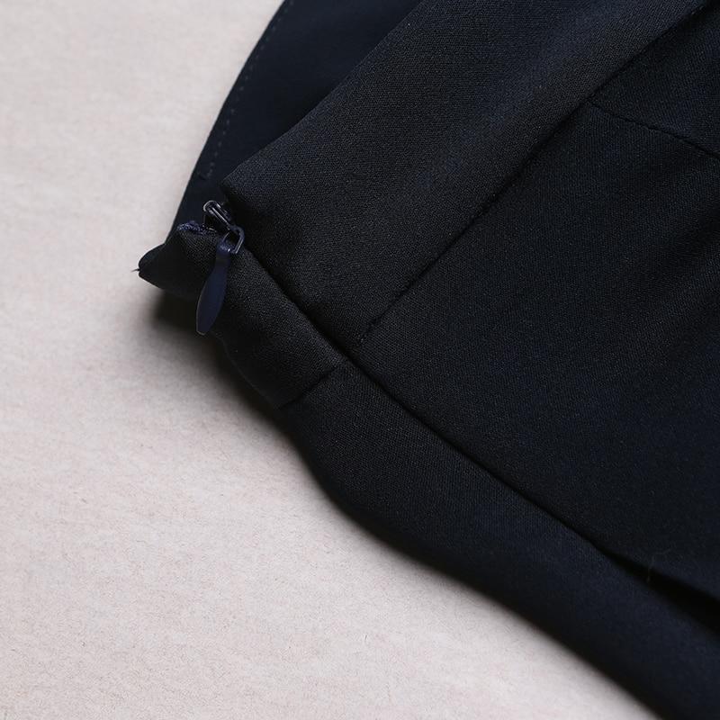 VOA 2017 automne bleu soie solide taille haute jambe large pantalon - Vêtements pour femmes - Photo 4