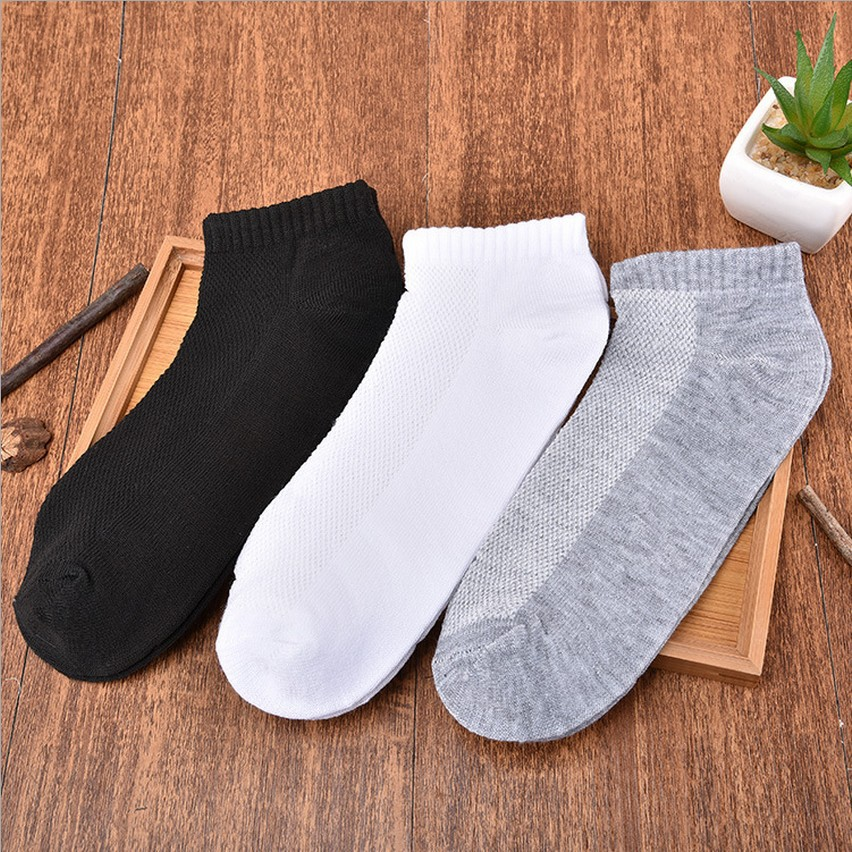 YMING Pair Ankle Men's Socks Breathable Thin Male Boat Sock Invisible White Cotton Solid Casual Socks For Man High Qulity