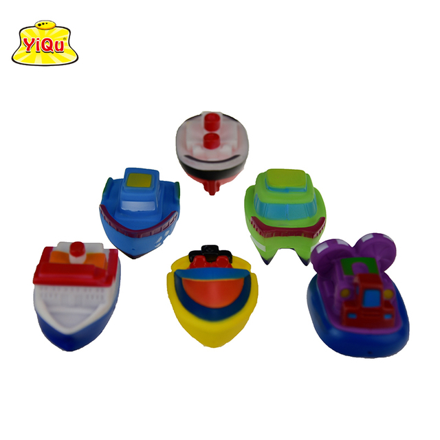 6pcs/lot Bath Toys Water-Spray Boat for kids Soft Rubber Boat for Boys Girls Rubber toys Shower Toy cartoon ship in mesh bag