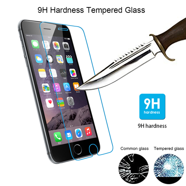 Premium 9H tempered glass for Apple iphone 4 4S 5 5S 5C SE 6 6S 7 PLUS 6Plus 6Splus 7plus Screen Protector Protective Film case