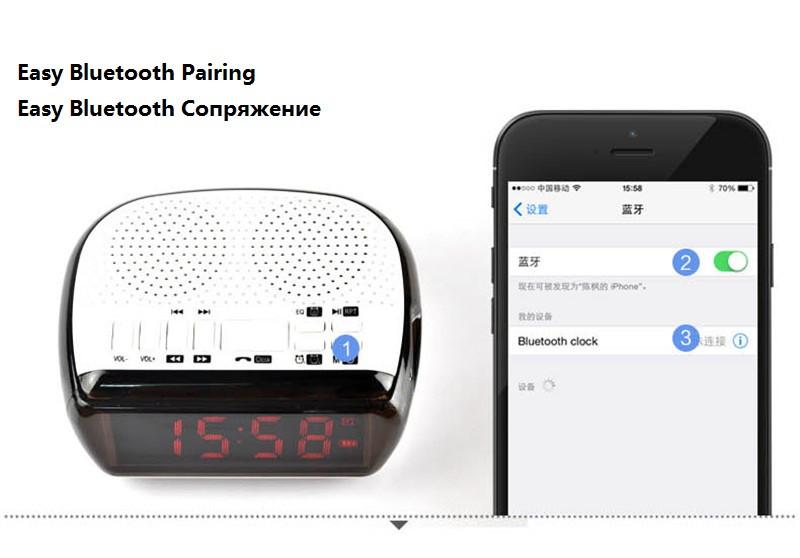 Mini Portable Dual Alarm Clock Bluetooth Stereo Speaker LCD Digital FM Radio Bluetooth Wireless Speaker Support TF For Computer (15)