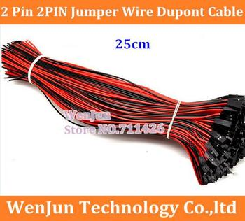 1000PCS/LOT Free Shipping High Quality  2 Pin 2PIN Jumper Wire Dupont Cable 2.54mm distance 20AWG Wire
