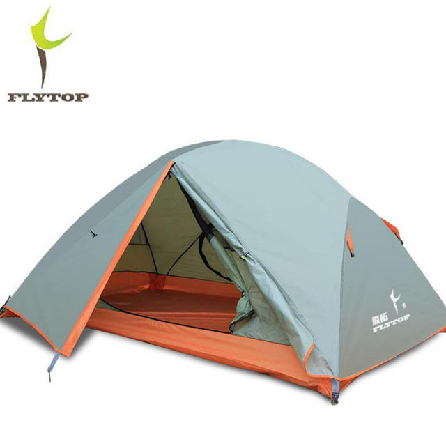 FLYTOP Outdoor Tent Waterproof 5000mm Double Layer Aluminum Rod 2 Person Camping Hiking Tent Lightweight Tourist Tents