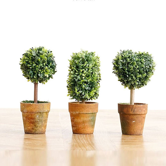 Lovely Artificial Plastic Crafts Mini Trees In Pots Plants Potted Decor Garden Yard Outdoor Indoor For