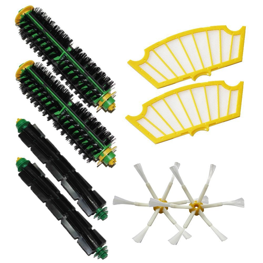 (8 pcs/lot) Brush Kit For iRobot Roomba 500 530 560 510 550 570 580 610 Vacuum Robots all Green, Red, Black cleaning head 610 red zin