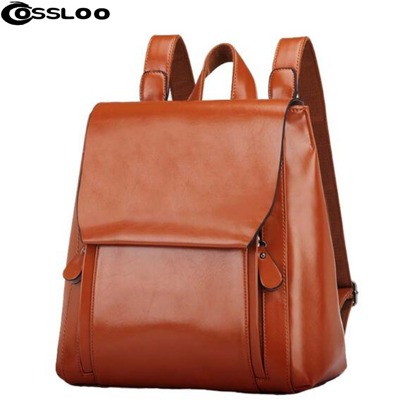 COSSLOO 2017 vintage casual new style leather school bags hotsale women candy clutch ofertas famous designer brand backpack bicolor back bag vintage casual genuine leather school bags top quality hotsale women famous designer brand backpack teenagers
