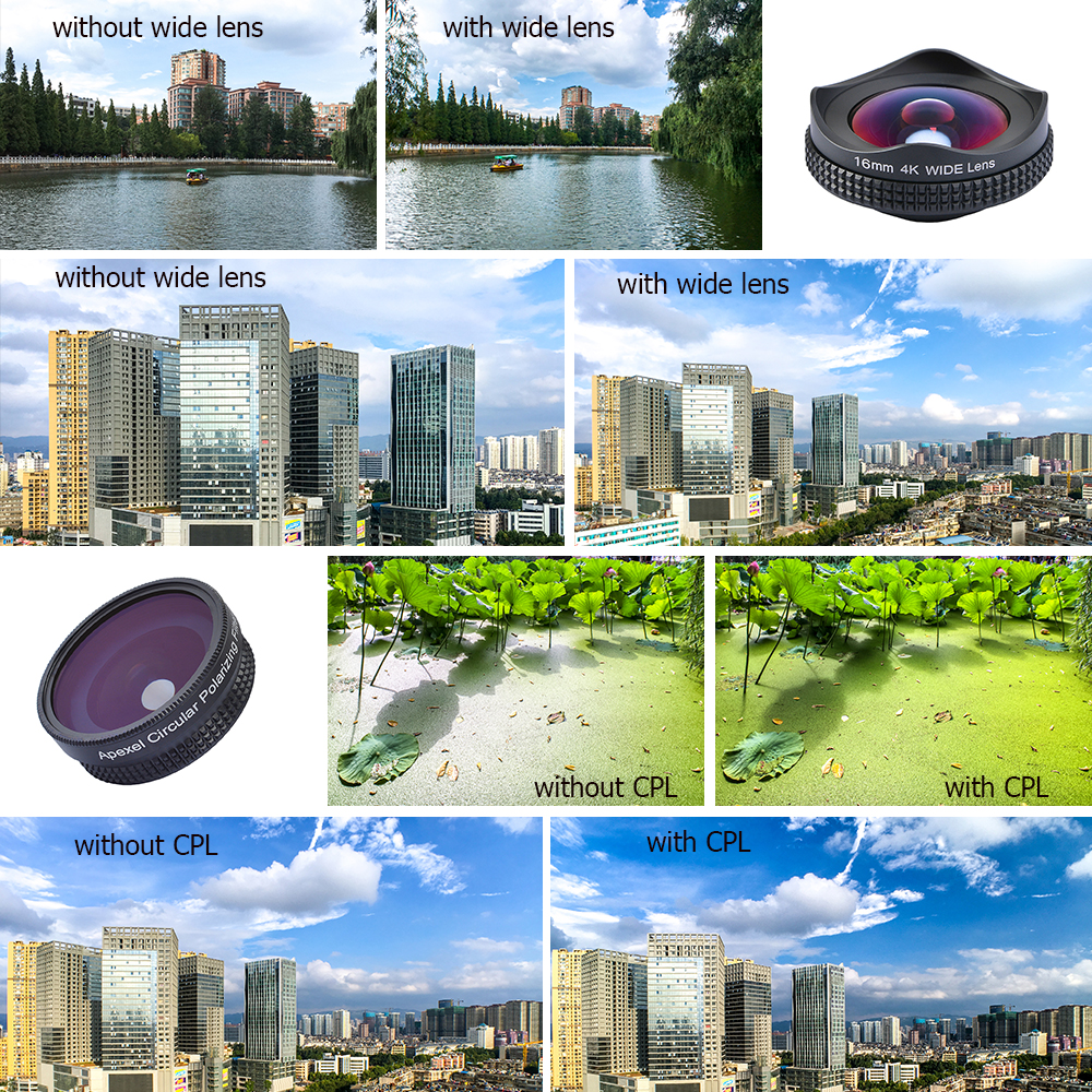 APEXEL HD 16mm 4K wide angle circular polarizing Filter wide  CPL lens mobile phone Camera Lens kit for iPhone 6 6s plus xiaomi 6