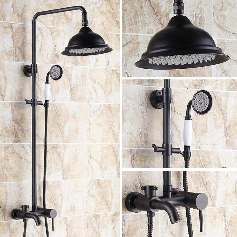 oil rubbed bronze shower set faucet shower bathtub faucet solid brass mixer tap wall mounted