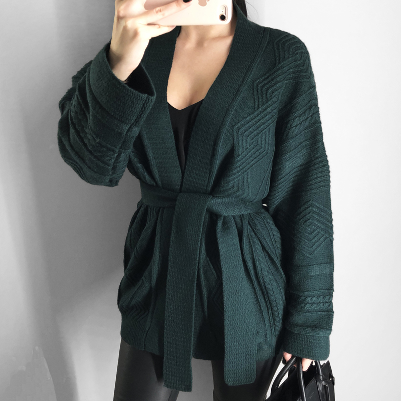 Женские кардиганы и пальто повседневный Однотонный свитер кардиган свитер толстый декоративный пояс