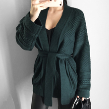 women cardigans and coat casual solid color sweater cardigan sweater thick decorative belt